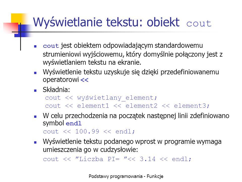 Wyświetlanie tekstu: obiekt cout