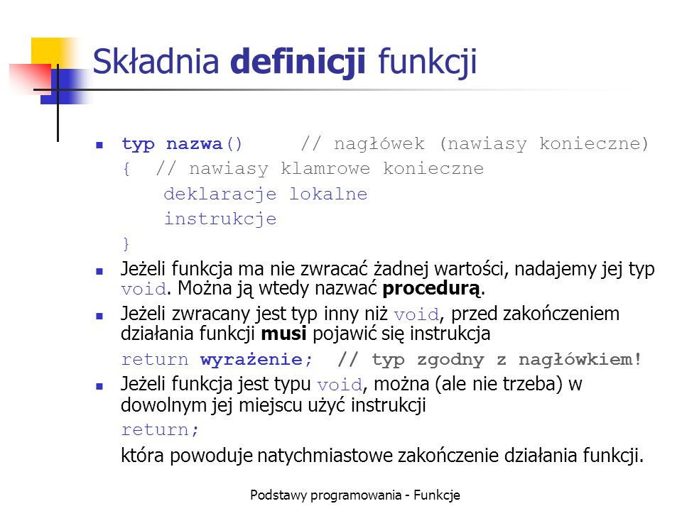 Składnia definicji funkcji