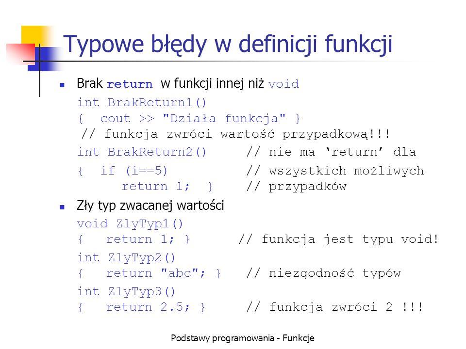 Typowe błędy w definicji funkcji