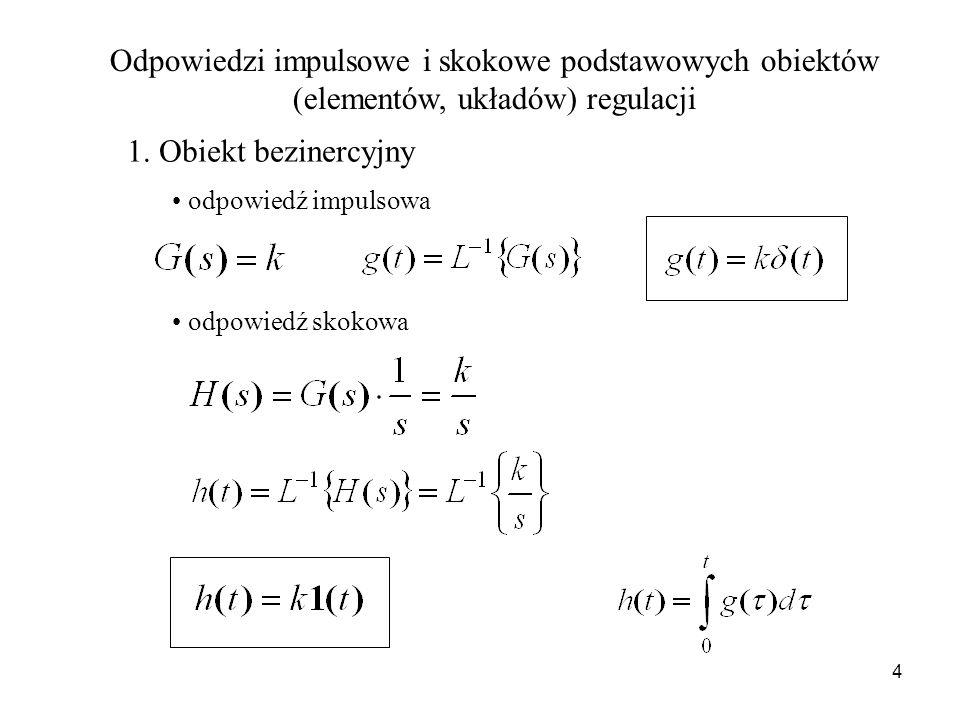 Odpowiedzi impulsowe i skokowe podstawowych obiektów (elementów, układów) regulacji