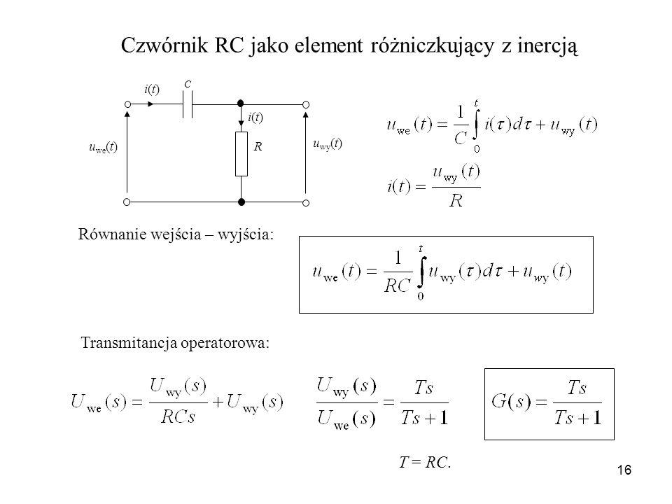 Czwórnik RC jako element różniczkujący z inercją