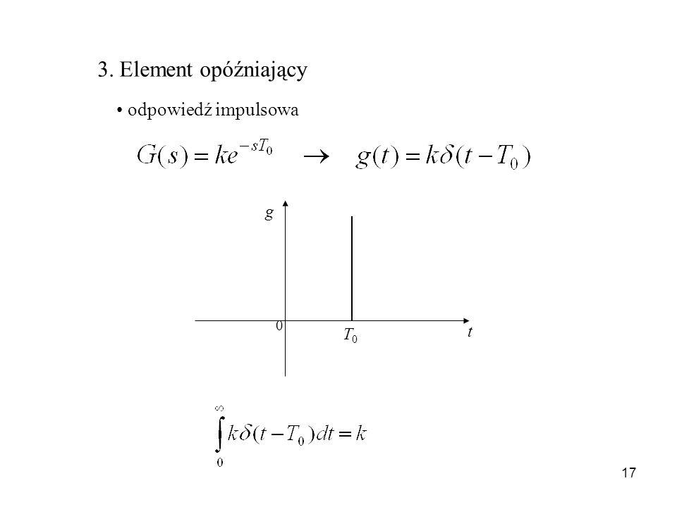 3. Element opóźniający odpowiedź impulsowa t g T0