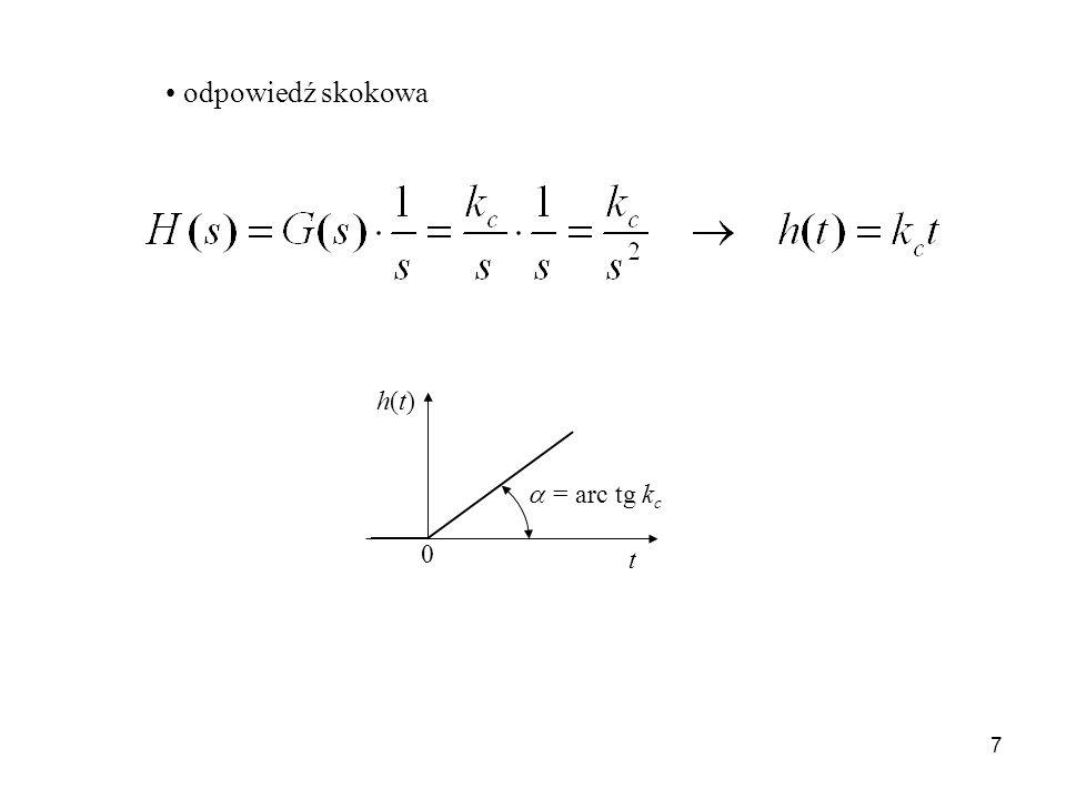 odpowiedź skokowa h(t) t  = arc tg kc