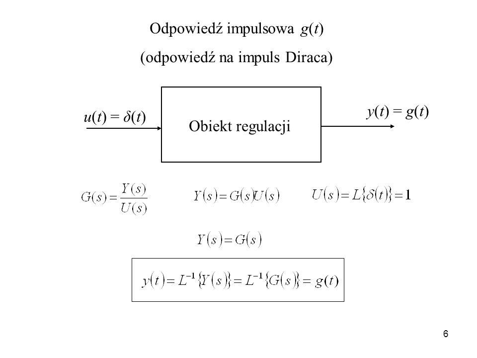 Odpowiedź impulsowa g(t) (odpowiedź na impuls Diraca)