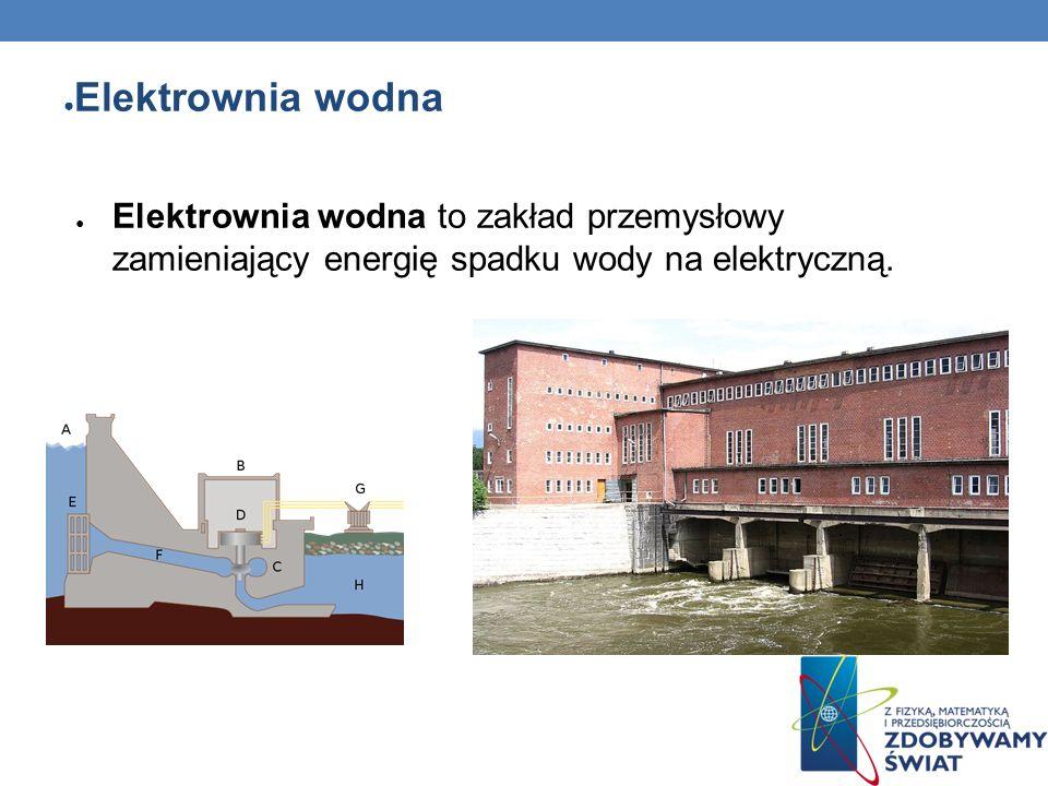 Elektrownia wodnaElektrownia wodna to zakład przemysłowy zamieniający energię spadku wody na elektryczną.