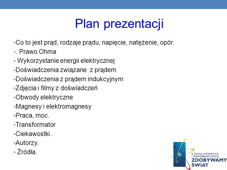 Plan prezentacji Co to jest prąd, rodzaje prądu, napięcie, natężenie, opór. . Prawo Ohma. Wykorzystanie energii elektrycznej.