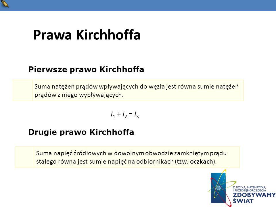 Prawa Kirchhoffa Pierwsze prawo Kirchhoffa I1 + I2 = I3