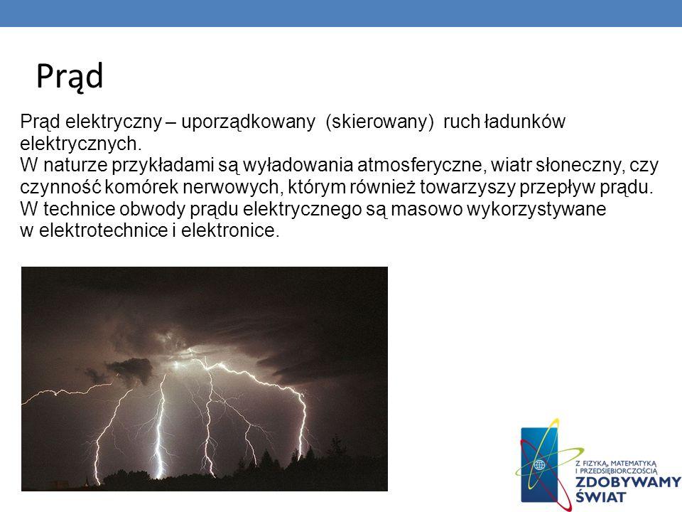 Prąd Prąd elektryczny – uporządkowany (skierowany) ruch ładunków elektrycznych.