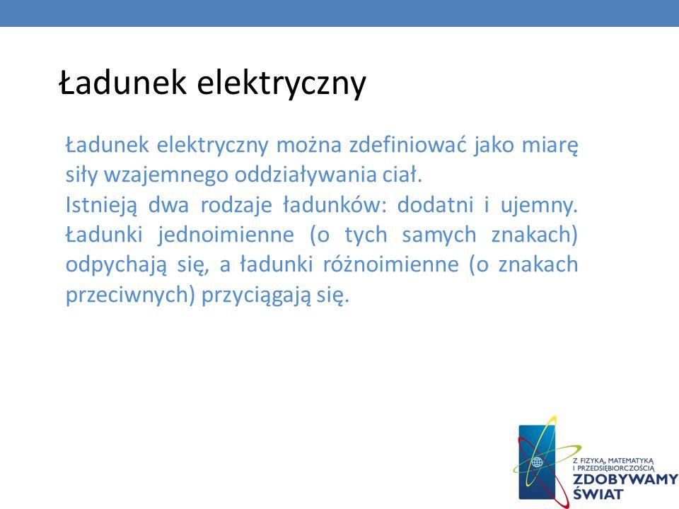 Ładunek elektrycznyŁadunek elektryczny można zdefiniować jako miarę siły wzajemnego oddziaływania ciał.