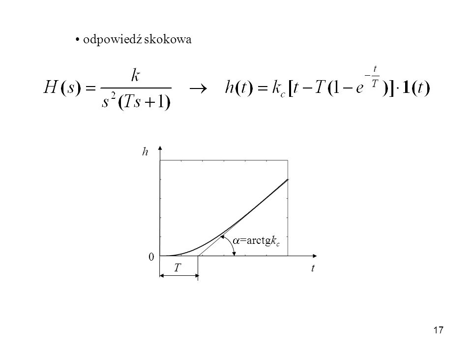 odpowiedź skokowa T t h =arctgkc