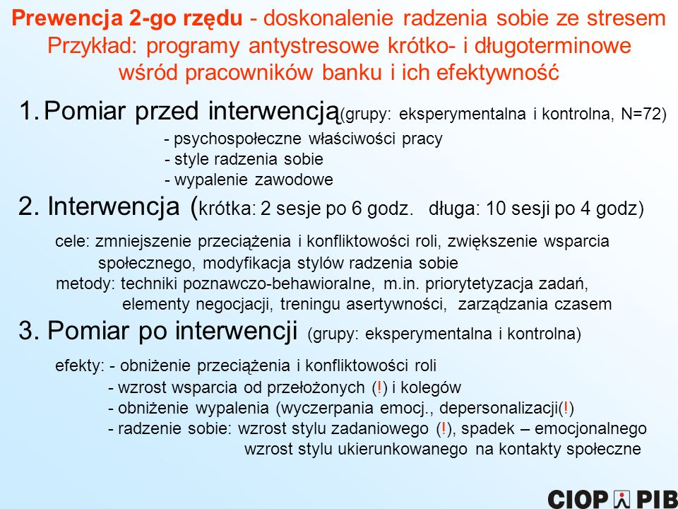 Pomiar przed interwencją(grupy: eksperymentalna i kontrolna, N=72)