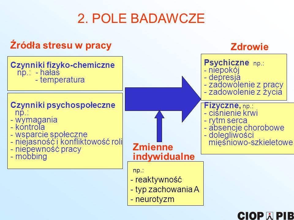 2. POLE BADAWCZE Źródła stresu w pracy Zdrowie Zmienne indywidualne