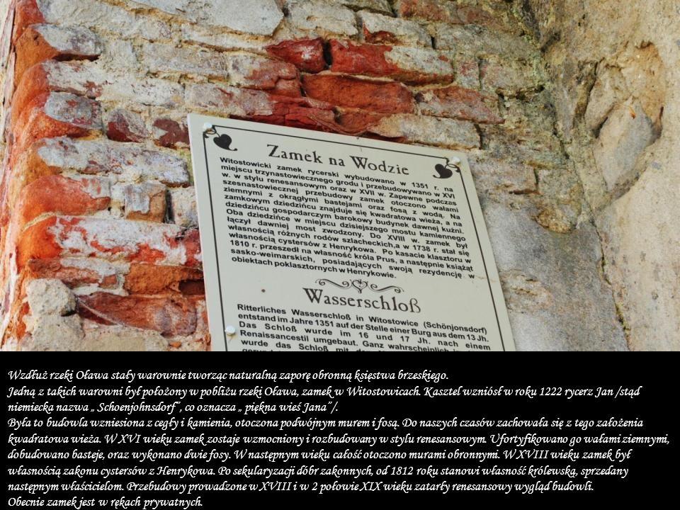"""Wzdłuż rzeki Oława stały warownie tworząc naturalną zaporę obronną księstwa brzeskiego. Jedną z takich warowni był położony w pobliżu rzeki Oława, zamek w Witostowicach. Kasztel wzniósł w roku 1222 rycerz Jan /stąd niemiecka nazwa """" Schoenjohnsdorf , co oznacza """" piękna wieś Jana /. Była to budowla wzniesiona z cegły i kamienia, otoczona podwójnym murem i fosą. Do naszych czasów zachowała się z tego założenia kwadratowa wieża. W XVI wieku zamek zostaje wzmocniony i rozbudowany w stylu renesansowym. Ufortyfikowano go wałami ziemnymi, dobudowano basteje, oraz wykonano dwie fosy. W następnym wieku całość otoczono murami obronnymi. W XVIII wieku zamek był własnością zakonu cystersów z Henrykowa. Po sekularyzacji dóbr zakonnych, od 1812 roku stanowi własność królewską, sprzedany następnym właścicielom. Przebudowy prowadzone w XVIII i w 2 połowie XIX wieku zatarły renesansowy wygląd budowli."""