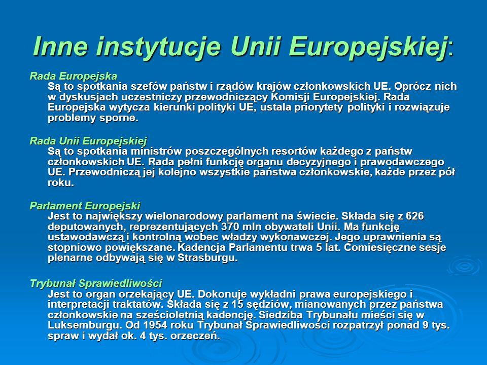 Inne instytucje Unii Europejskiej: