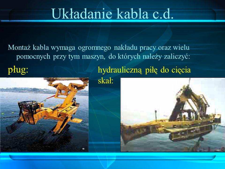 Układanie kabla c.d. pług: hydrauliczną piłę do cięcia skał: