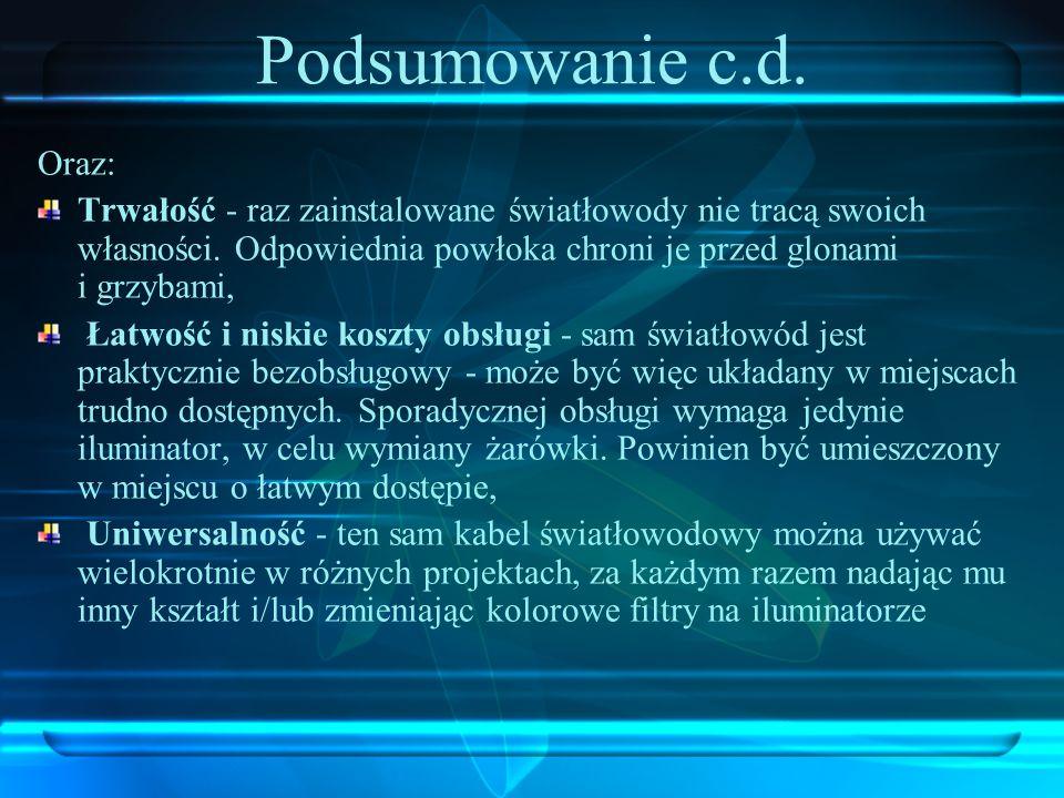 Podsumowanie c.d. Oraz: Trwałość - raz zainstalowane światłowody nie tracą swoich własności. Odpowiednia powłoka chroni je przed glonami i grzybami,