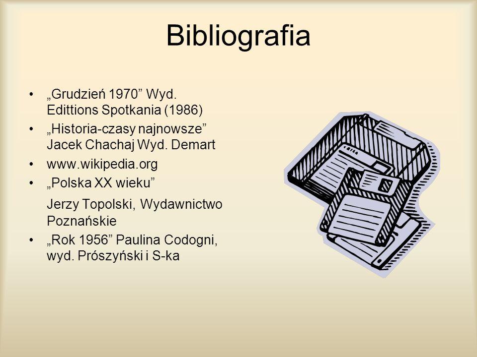 """Bibliografia """"Grudzień 1970 Wyd. Edittions Spotkania (1986)"""