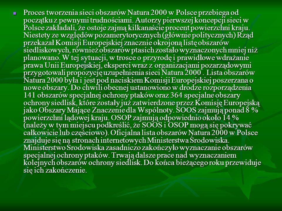 Proces tworzenia sieci obszarów Natura 2000 w Polsce przebiega od początku z pewnymi trudnościami.