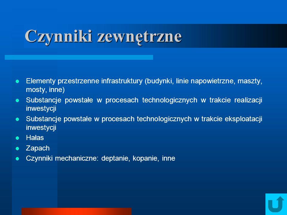 Czynniki zewnętrzne Elementy przestrzenne infrastruktury (budynki, linie napowietrzne, maszty, mosty, inne)