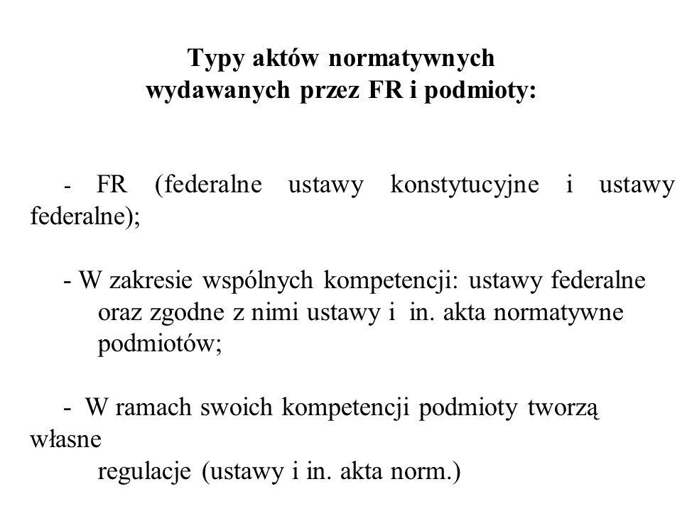 Typy aktów normatywnych wydawanych przez FR i podmioty: