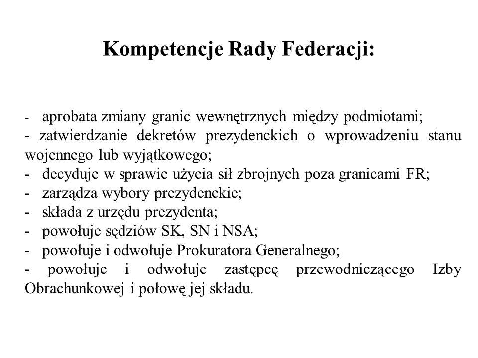 Kompetencje Rady Federacji: