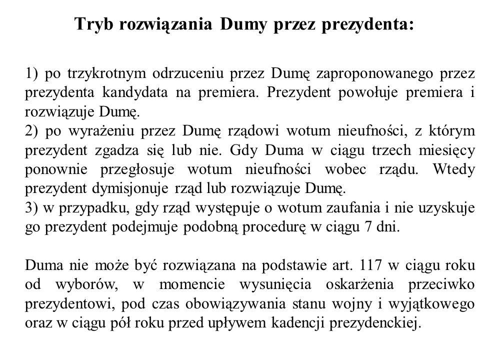 Tryb rozwiązania Dumy przez prezydenta: