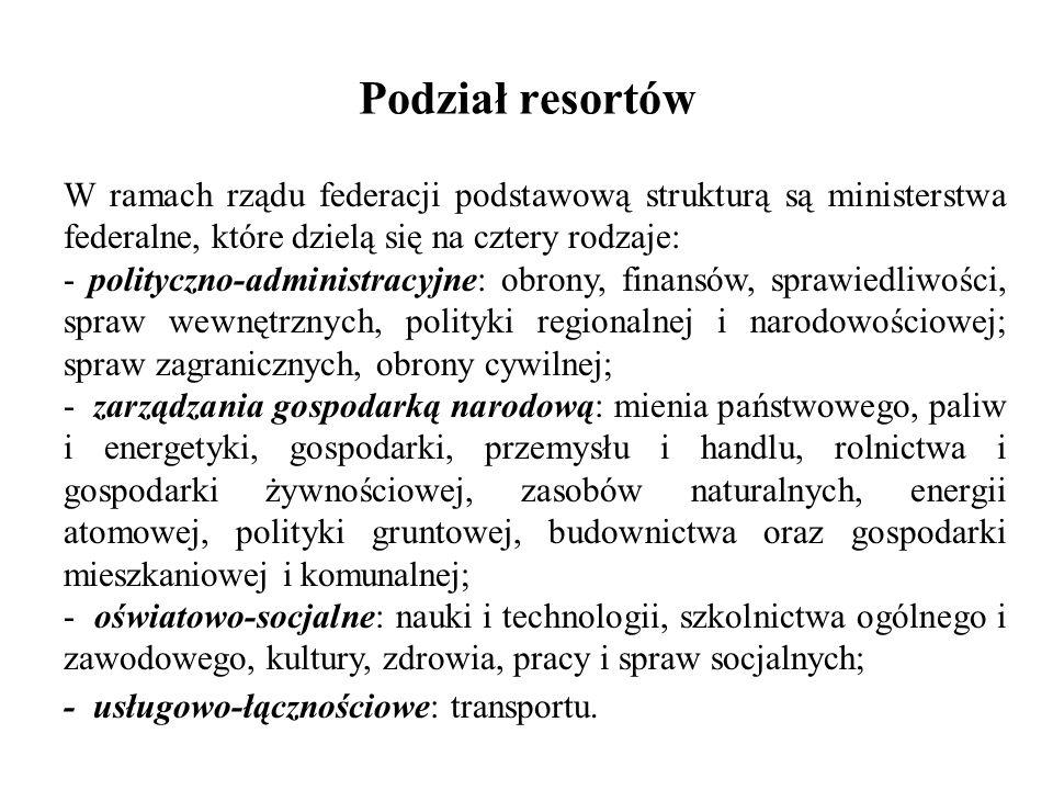Podział resortów W ramach rządu federacji podstawową strukturą są ministerstwa federalne, które dzielą się na cztery rodzaje: