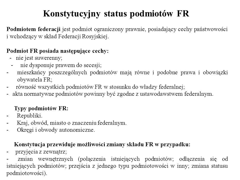 Konstytucyjny status podmiotów FR