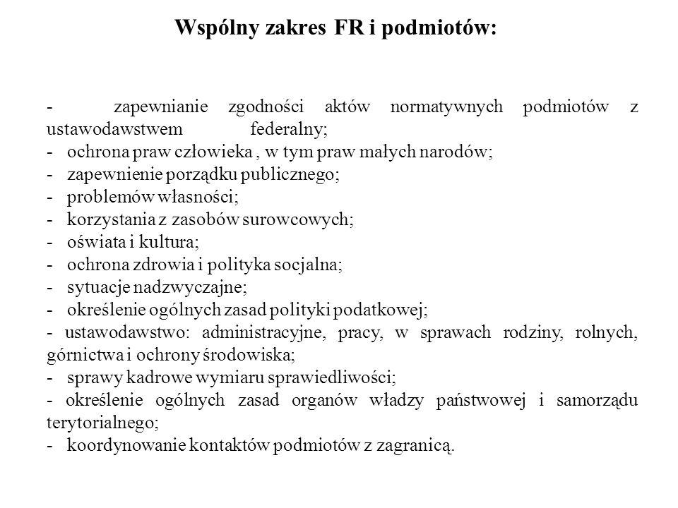 Wspólny zakres FR i podmiotów: