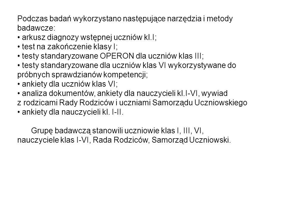 Podczas badań wykorzystano następujące narzędzia i metody badawcze: