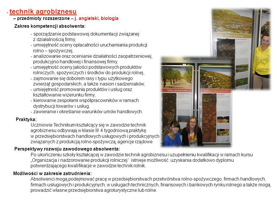 - technik agrobiznesu– przedmioty rozszerzone – j. angielski, biologia. Zakres kompetencji absolwenta: