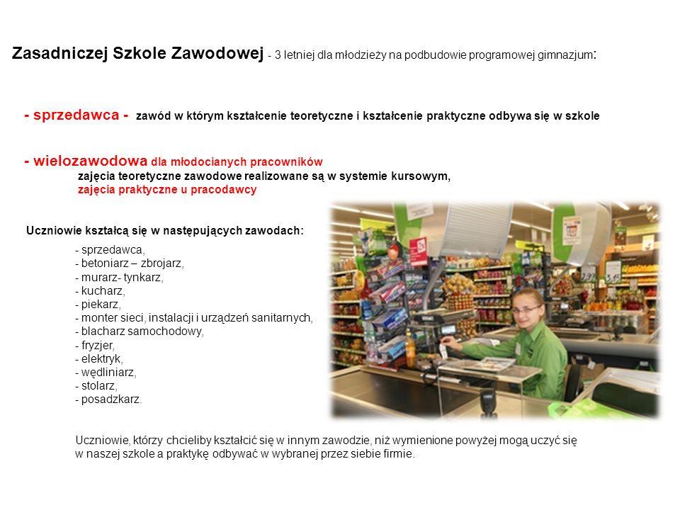 Zasadniczej Szkole Zawodowej - 3 letniej dla młodzieży na podbudowie programowej gimnazjum:
