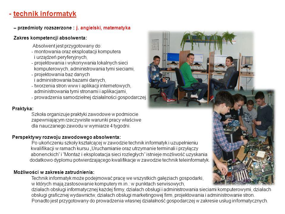 - technik informatyk– przedmioty rozszerzone : j. angielski, matematyka. Zakres kompetencji absolwenta: