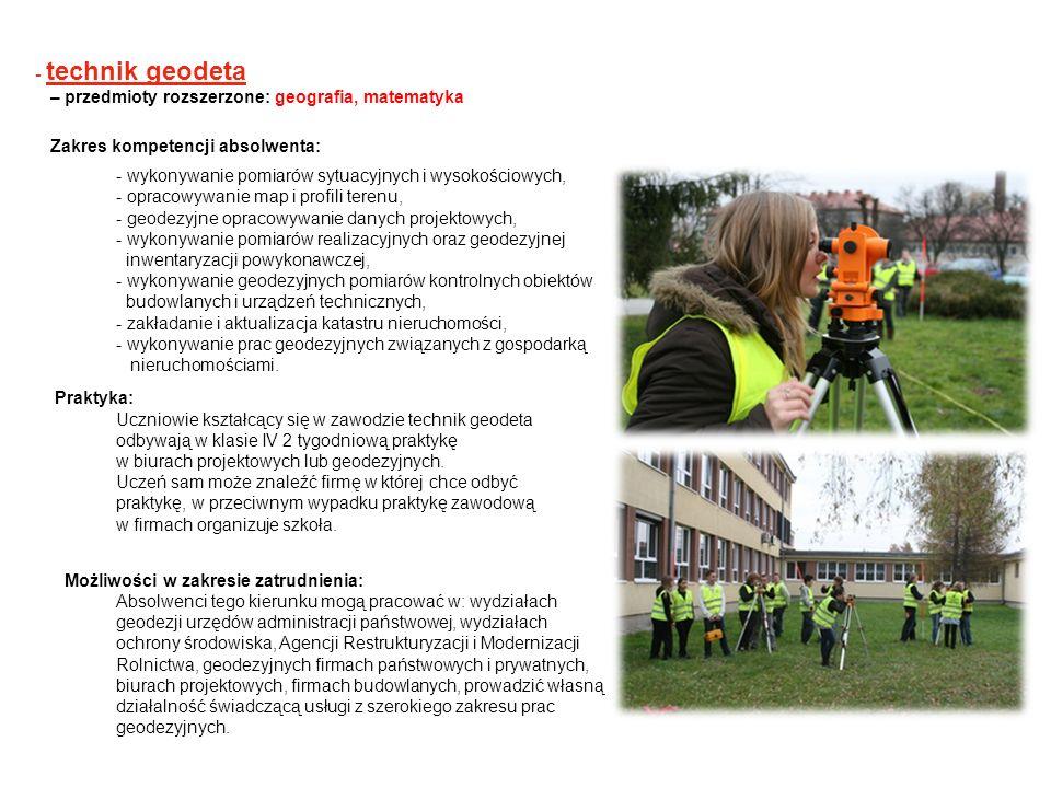 - technik geodeta – przedmioty rozszerzone: geografia, matematyka. Zakres kompetencji absolwenta: