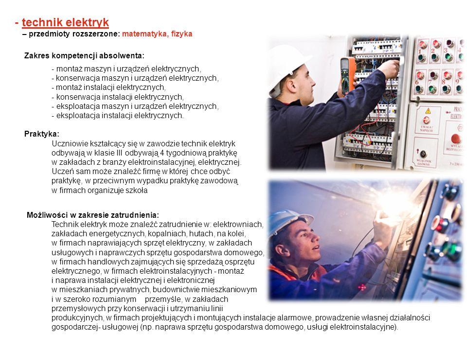 - technik elektryk – przedmioty rozszerzone: matematyka, fizyka