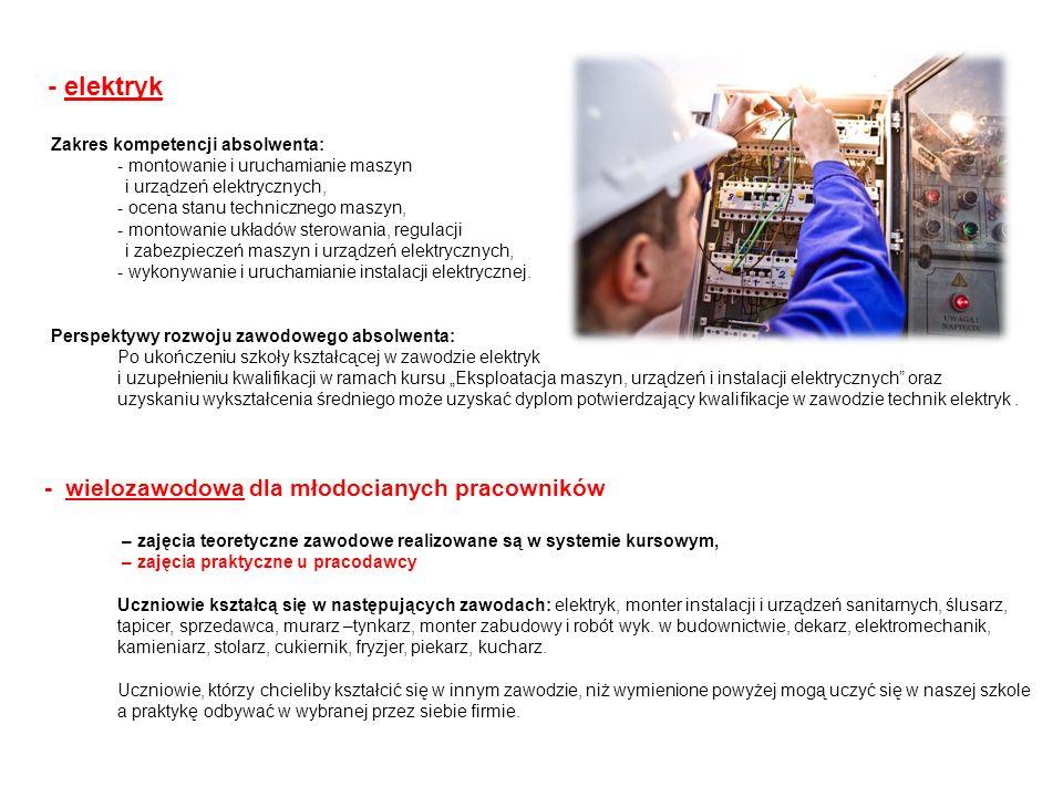 - elektryk - wielozawodowa dla młodocianych pracowników