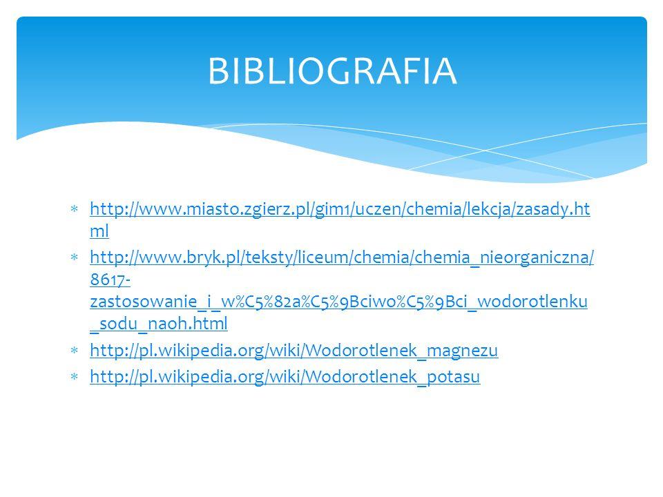BIBLIOGRAFIA http://www.miasto.zgierz.pl/gim1/uczen/chemia/lekcja/zasady.html.