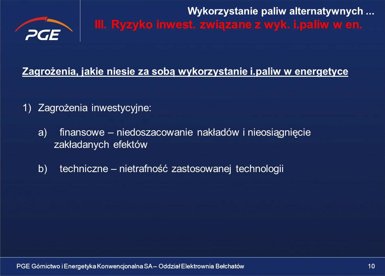III. Ryzyko inwest. związane z wyk. i.paliw w en.