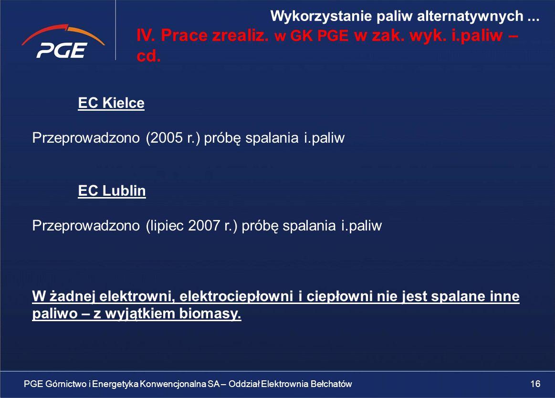 IV. Prace zrealiz. w GK PGE w zak. wyk. i.paliw – cd.