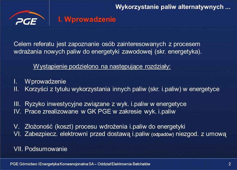 I. Wprowadzenie Wykorzystanie paliw alternatywnych ...