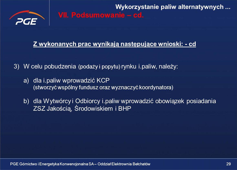 VII. Podsumowanie – cd. Wykorzystanie paliw alternatywnych ...