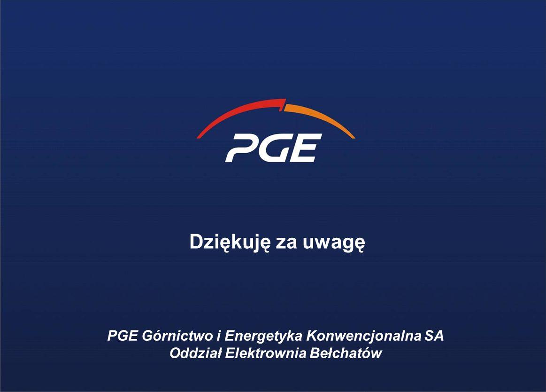 Dziękuję za uwagę PGE Górnictwo i Energetyka Konwencjonalna SA Oddział Elektrownia Bełchatów