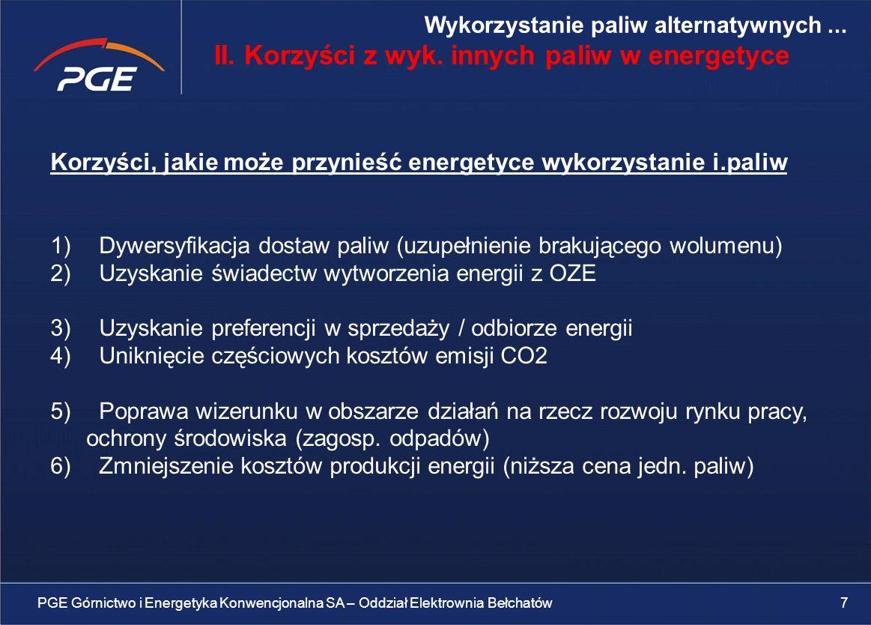 II. Korzyści z wyk. innych paliw w energetyce