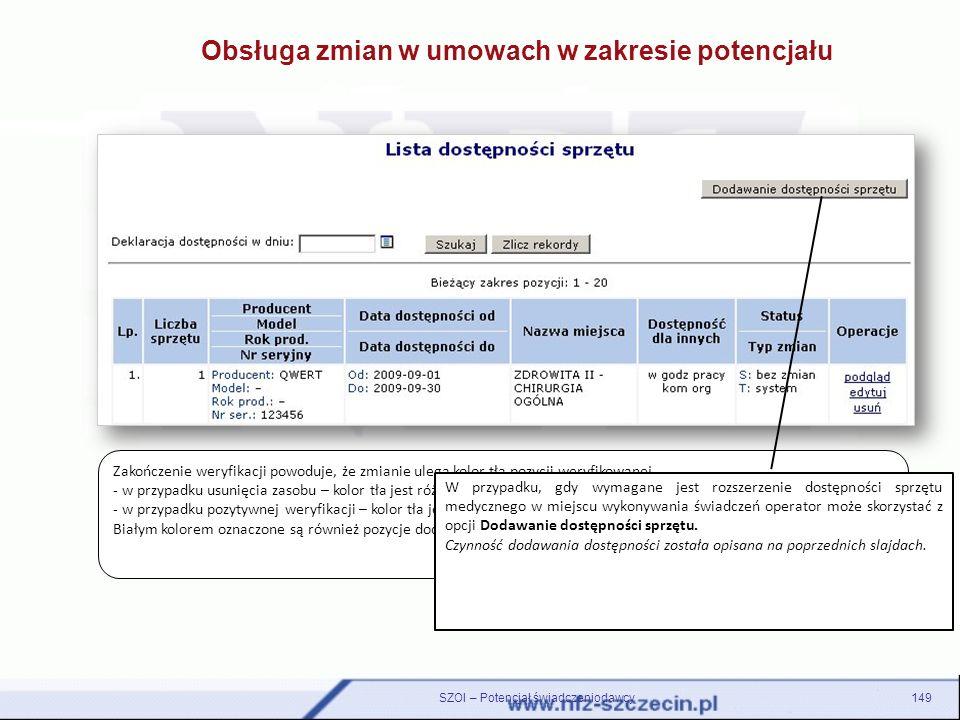 Obsługa zmian w umowach w zakresie potencjału