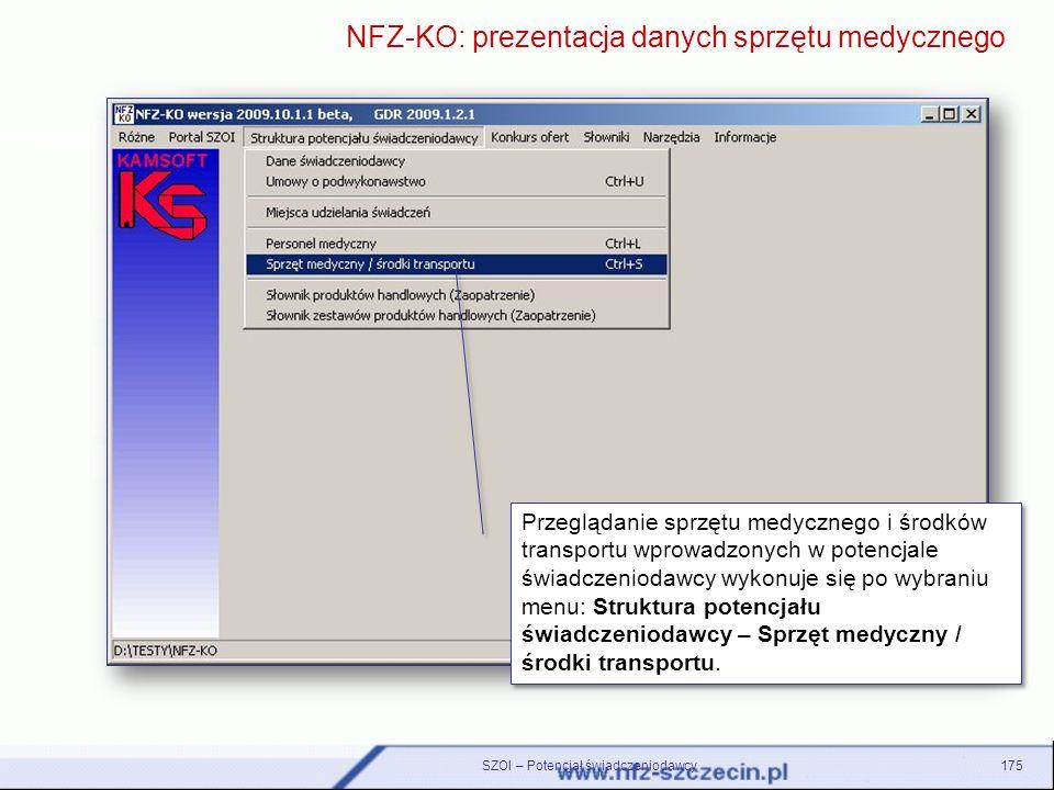 NFZ-KO: prezentacja danych sprzętu medycznego
