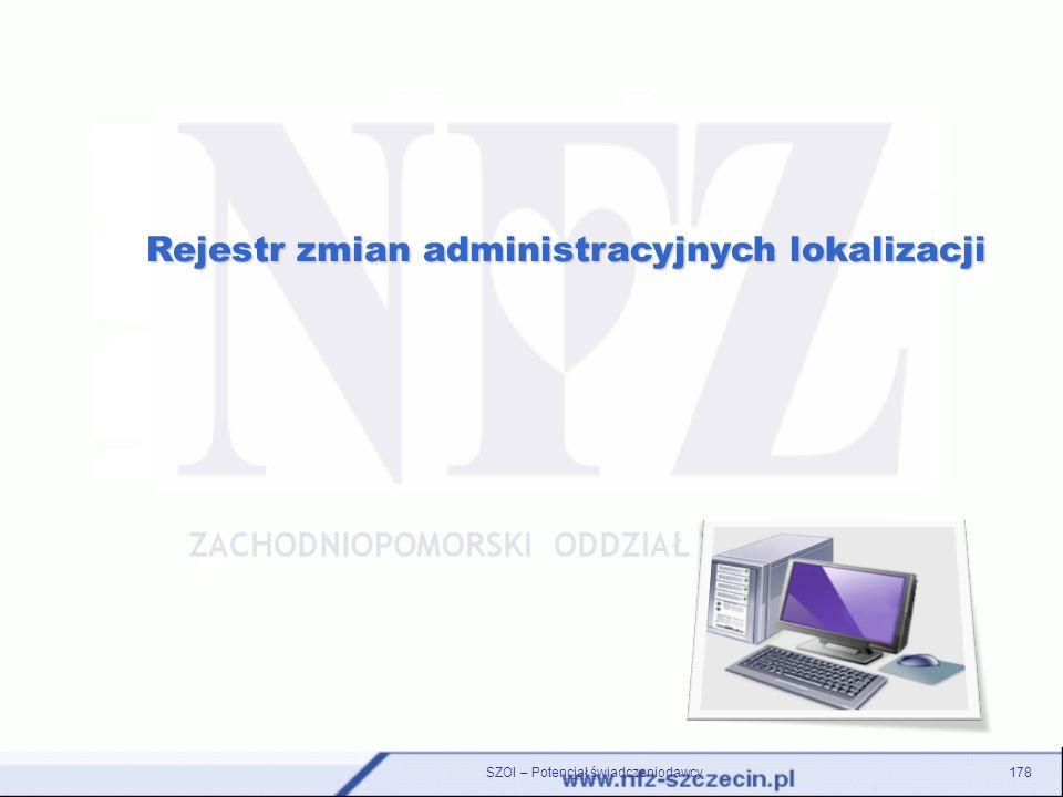 Rejestr zmian administracyjnych lokalizacji