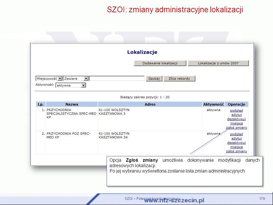SZOI: zmiany administracyjne lokalizacji