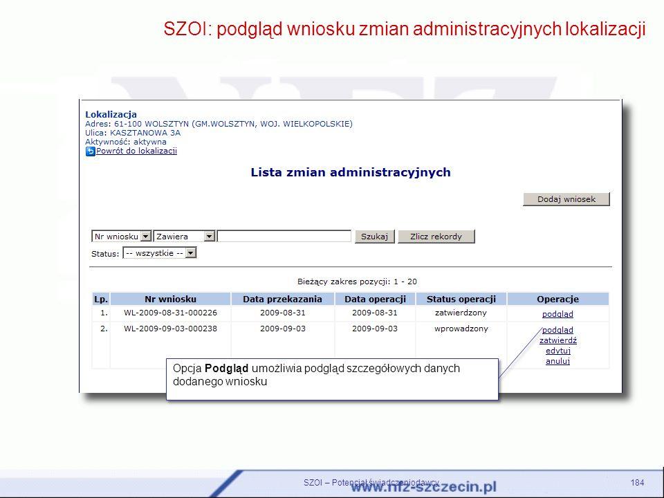 SZOI: podgląd wniosku zmian administracyjnych lokalizacji