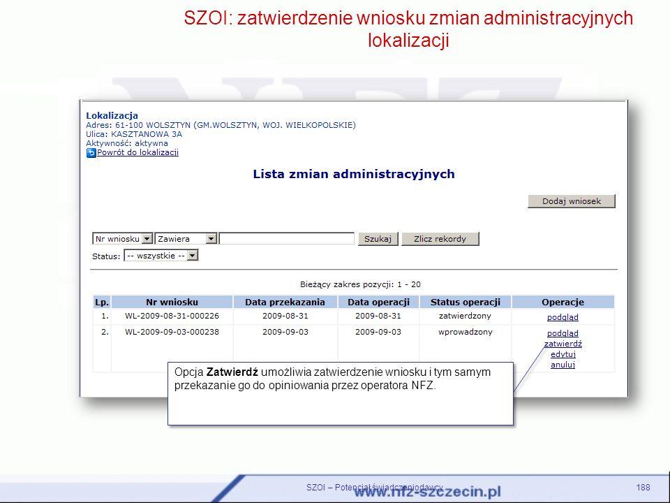 SZOI: zatwierdzenie wniosku zmian administracyjnych lokalizacji