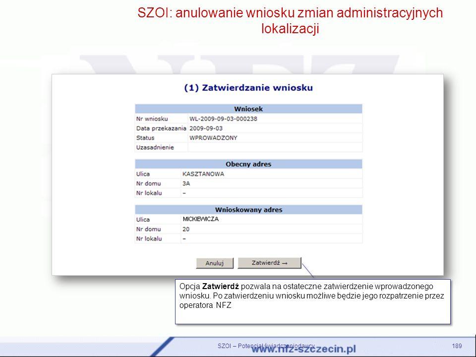 SZOI: anulowanie wniosku zmian administracyjnych lokalizacji